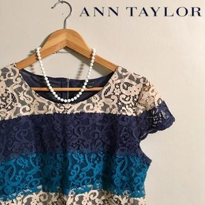 Ann Taylor Lace Overlay Top